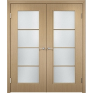 Межкомнатная двойная дверь С-8 Беленый дуб