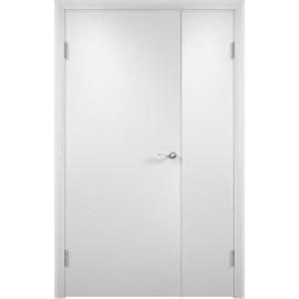 Межкомнатная двустворчатая дверь ДПГ Белая, неравнопольная